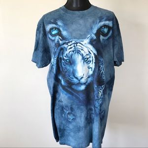Unisex Blue Tie Dye Tiger Relaxed Fit T Shirt